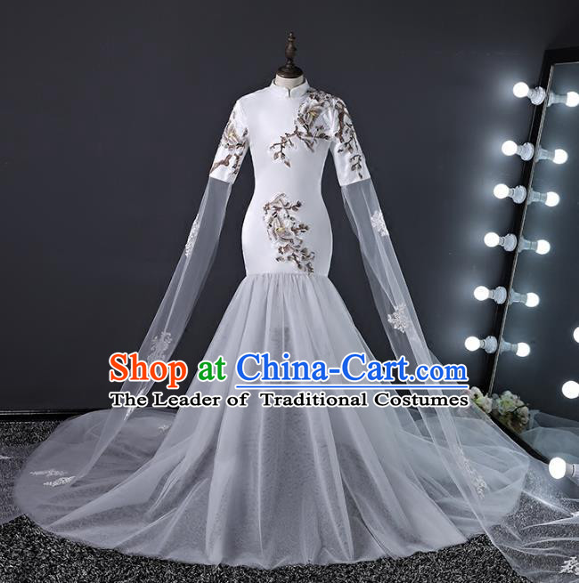 Top Grade Stage Performance Costumes Compere Trailing Cheongsam Modern Fancywork Full Dress for Kids