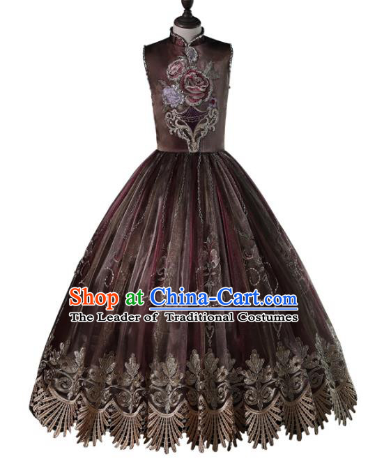 Top Grade Compere Costumes Children Embroidered Brown Dress Princess Dress Modern Fancywork Full Dress for Kids