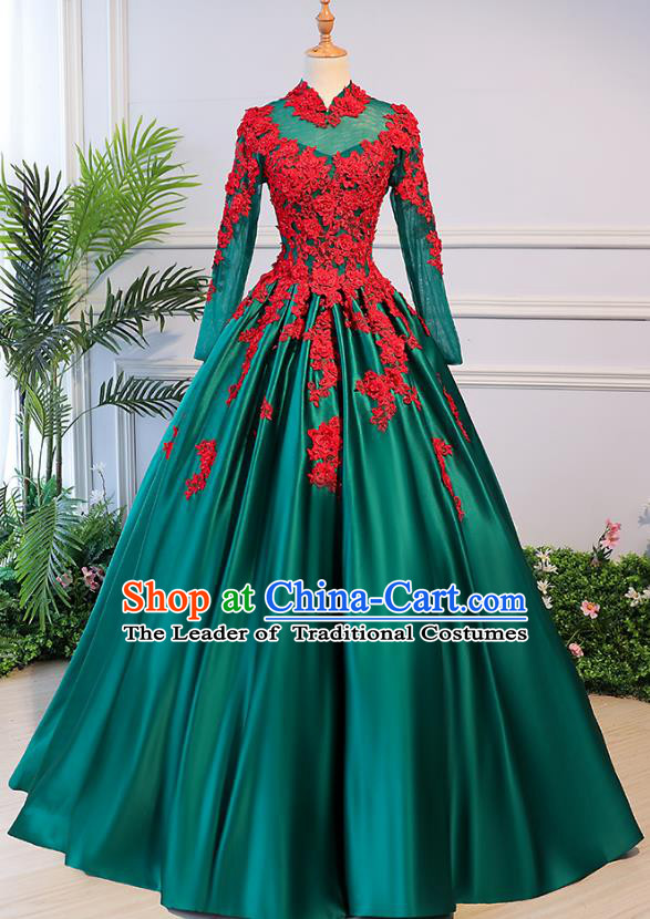 Top Grade Advanced Customization Green Evening Dress Wedding Dress Compere Bridal Full Dress for Women