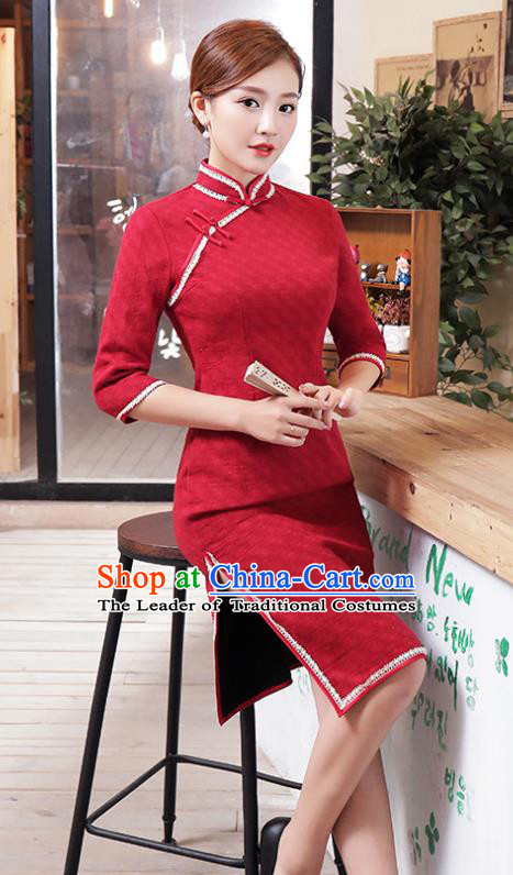 4249930a04678 Top Grade Chinese Red Lace Qipao Dress National Costume Traditional Mandarin  Cheongsam for Women