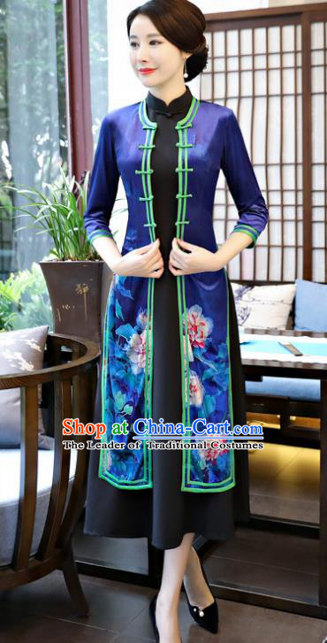 Top Grade Chinese Printing Lotus Blue Qipao Dress National Costume Traditional Mandarin Cheongsam for Women