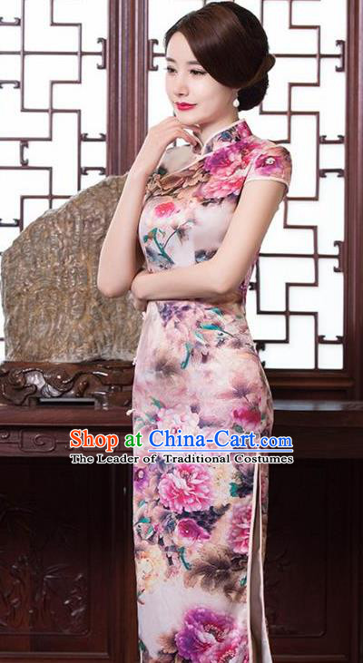Top Grade Chinese Printing Peony Pink Silk Qipao Dress National Costume Traditional Mandarin Cheongsam for Women