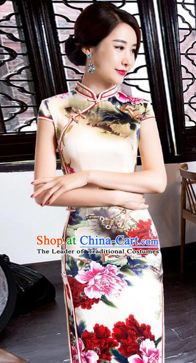 Top Grade Chinese Printing Peony Beige Silk Qipao Dress National Costume Traditional Mandarin Cheongsam for Women