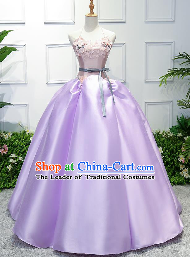 Top Grade Wedding Costume Compere Evening Dress Purple Satin Bubble Dress Bridal Full Dress for Women