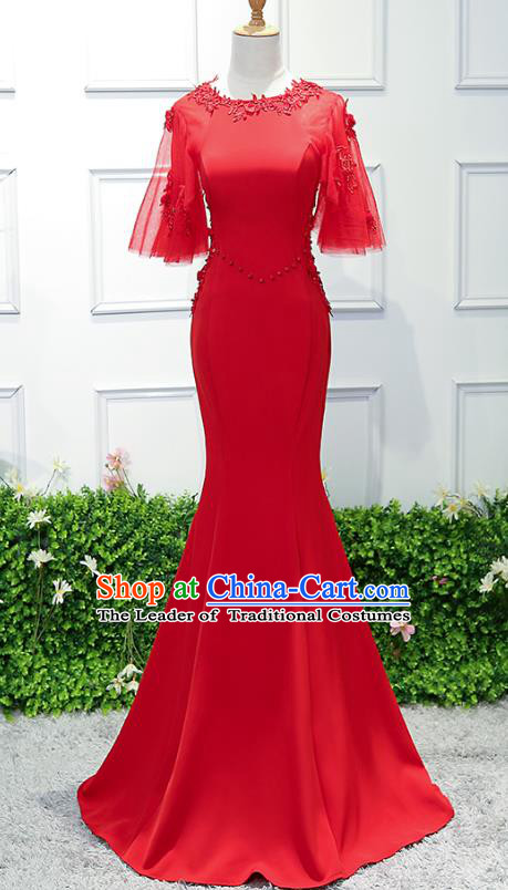 Top Grade Wedding Costume Compere Evening Dress Red Mermaid Dress Bridal Full Dress for Women