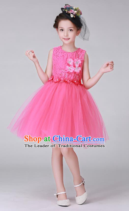 Top Grade Stage Performance Costumes Children Modern Dance Rosy Bubble Dress Modern Fancywork Clothing for Kids