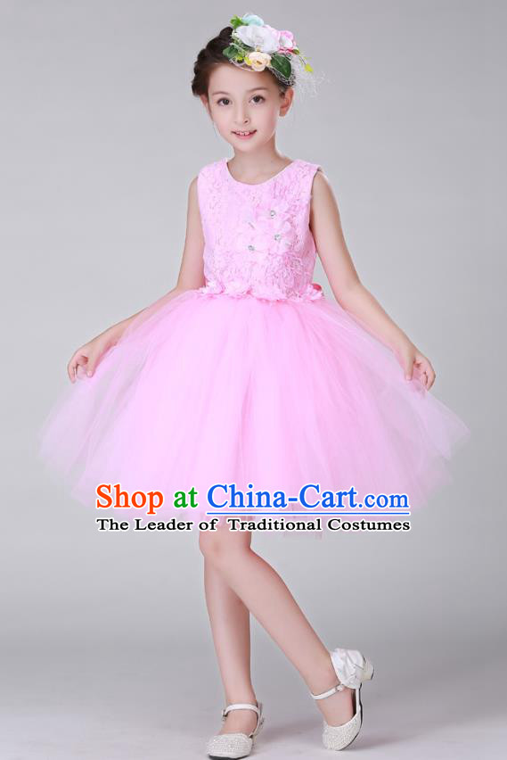 Top Grade Stage Performance Costumes Children Modern Dance Pink Bubble Dress Modern Fancywork Clothing for Kids