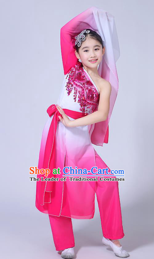 Chinese Ancient Costume Children Classical Dance Pink Dress Stage Performance Clothing for Kids