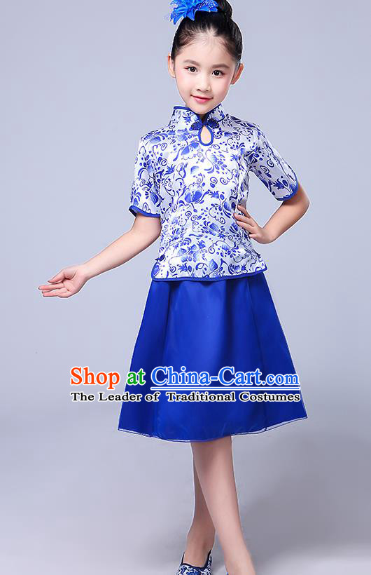 Chinese Ancient Chorus Costume Children Classical Dance Blue Dress Stage Performance Clothing for Kids
