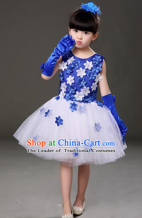 6bbb0a90f Top Grade Chorus Costumes Children Modern Dance Royalblue Flowers Bubble Dress  for Kids
