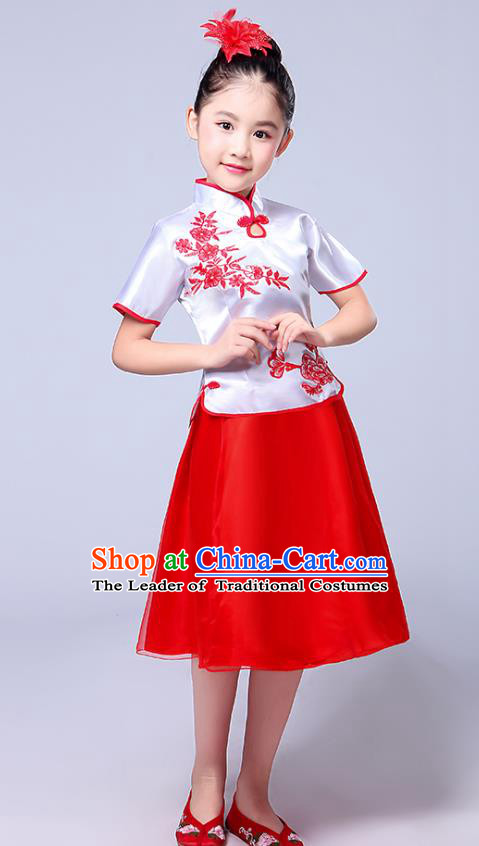Chinese Ancient Chorus Costume Children Classical Dance Printing Red Dress Stage Performance Clothing for Kids
