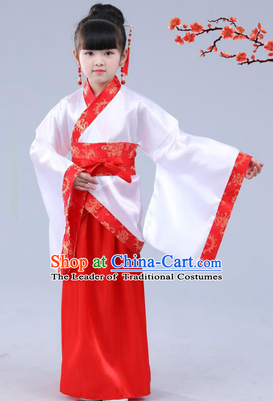 Chinese Ancient Costume Children Red Hanfu Classical Dance Dress Stage Performance Clothing for Kids