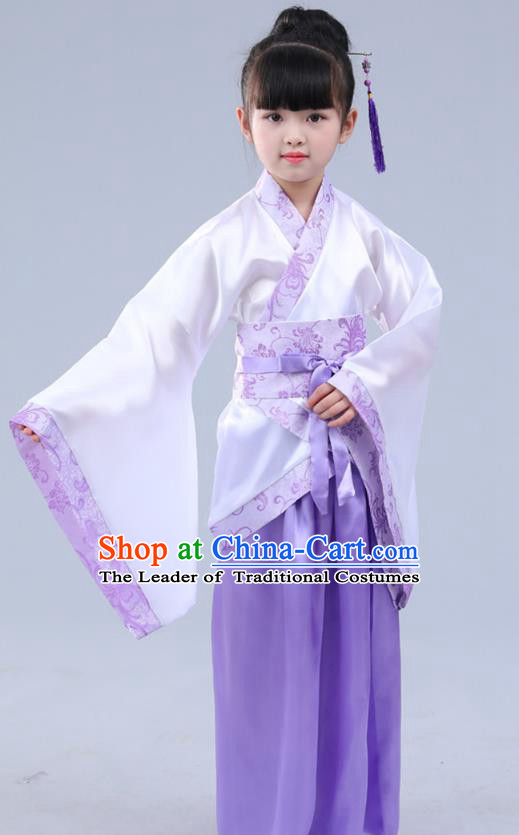 Chinese Ancient Costume Children Purple Hanfu Classical Dance Dress Stage Performance Clothing for Kids