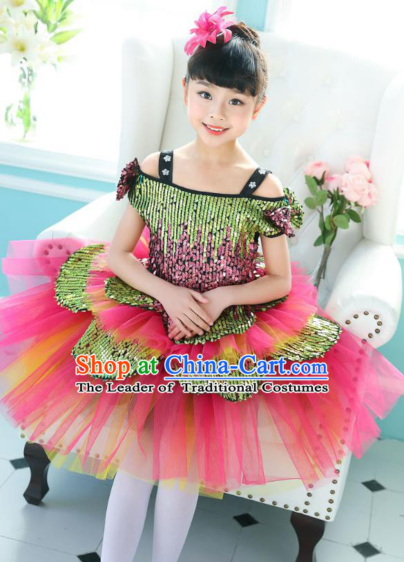 Top Grade Chorus Sequins Costumes Children Stage Performance Modern Dance Rosy Bubble Dress for Kids