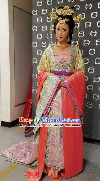 Chinese Tang Dynasty Infanta Hanfu Dress Ancient Nobility Lady Embroidered Costumes for Women