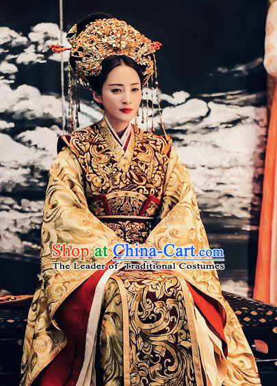 Tribes and Empires Storm of Prophecy Chinese Ancient Palace Empress Embroidered Costumes and Headpiece Complete Set