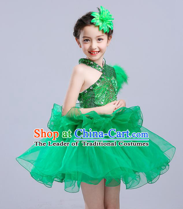 Top Grade Chorus Stage Performance Costumes Green Veil Bubble Dress Children Modern Dance Clothing for Kids