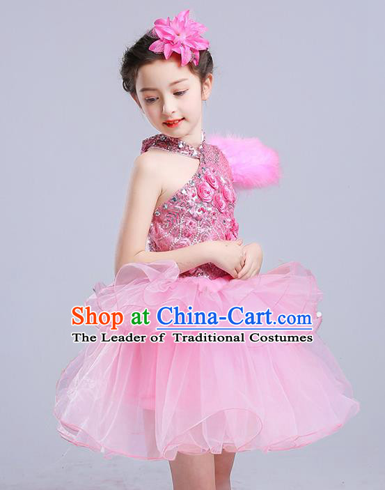 Top Grade Chorus Stage Performance Costumes Pink Veil Bubble Dress Children Modern Dance Clothing for Kids