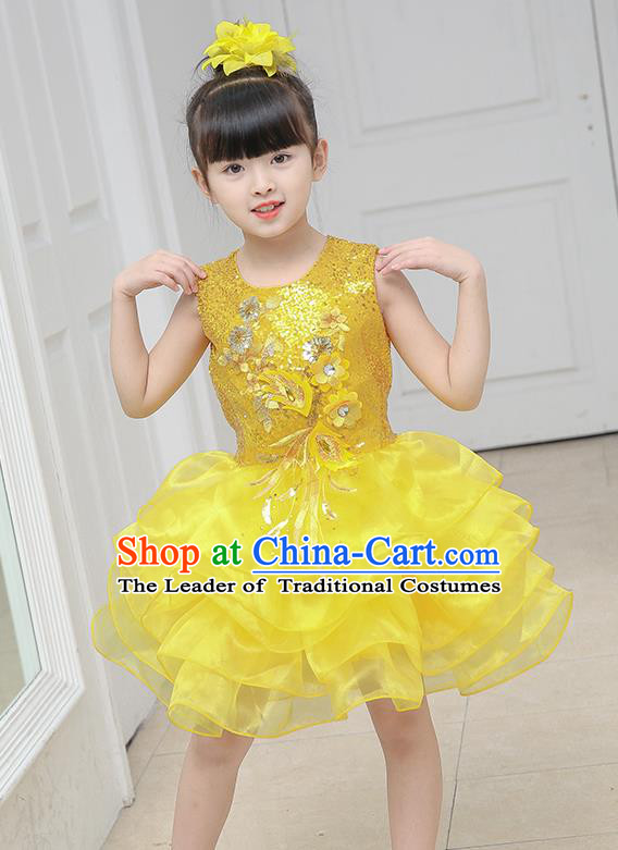Top Grade Chorus Costumes Stage Performance Yellow Sequins Bubble Dress Children Modern Dance Clothing for Kids
