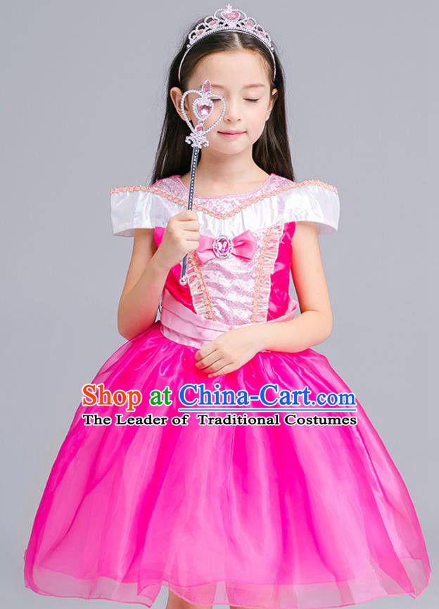 Top Grade Chorus Costumes Stage Performance Princess Rosy Dress Children Modern Dance Clothing for Kids