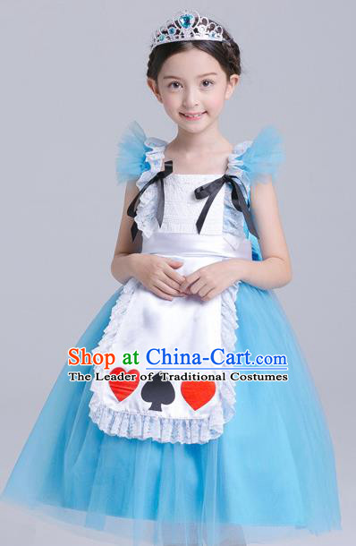 Top Grade Chorus Costumes Stage Performance Princess Blue Full Dress Children Modern Dance Clothing for Kids
