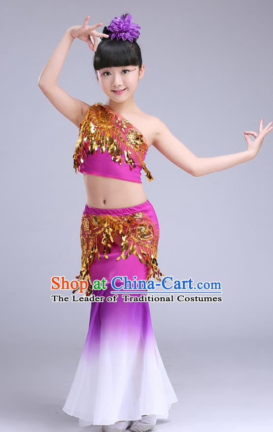 Chinese Traditional Folk Dance Costumes Pavane Dance Purple Dress Children Classical Peacock Dance Clothing for Kids