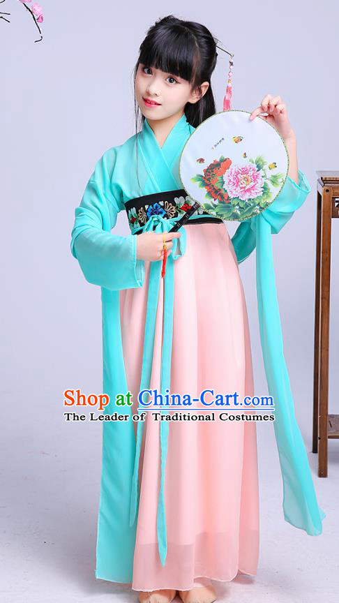 Chinese Traditional Folk Dance Costumes Ancient Green Hanfu Dress Children Classical Dance Clothing for Kids