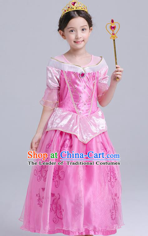 Top Grade Chorus Costumes Stage Performance Princess Pink Dress Children Modern Dance Clothing for Kids
