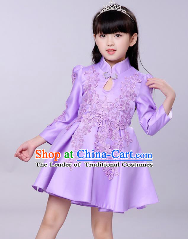 Top Grade Princess Dress Girls Stage Performance Chorus Purple Cheongsam Costumes Bubble Dress for Kids