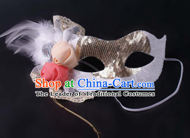 Halloween Fancy Ball Props Exaggerated Feather Face Mask Stage Performance Accessories Christmas Masks