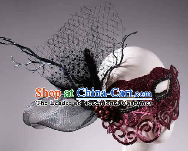 Halloween Fancy Ball Props Exaggerated Wine Red Lace Face Mask Stage Performance Accessories Christmas Mysterious Masks