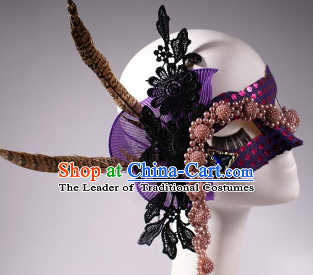Halloween Fancy Ball Props Exaggerated Feather Purple Face Mask Stage Performance Accessories Christmas Mysterious Masks