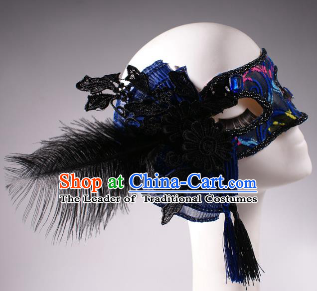 Halloween Fancy Ball Props Exaggerated Feather Blue Face Mask Stage Performance Accessories Christmas Mysterious Masks