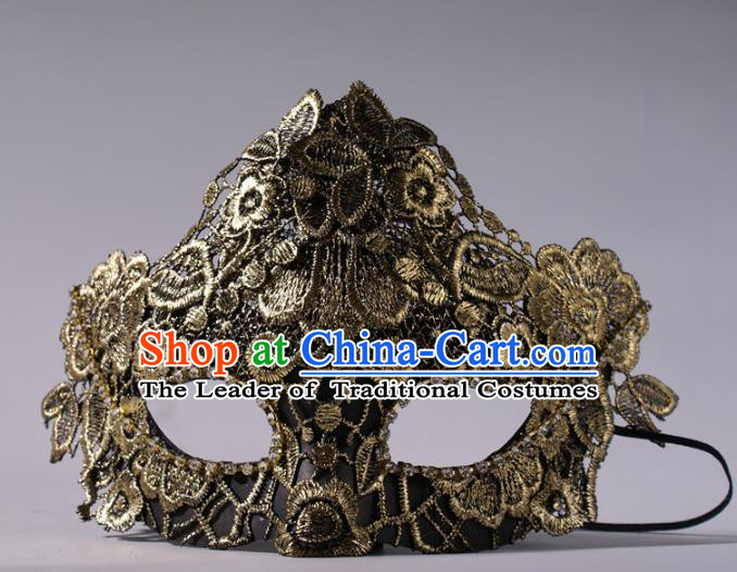 Halloween Fancy Ball Props Exaggerated Golden Lace Face Mask Stage Performance Accessories Christmas Mysterious Masks