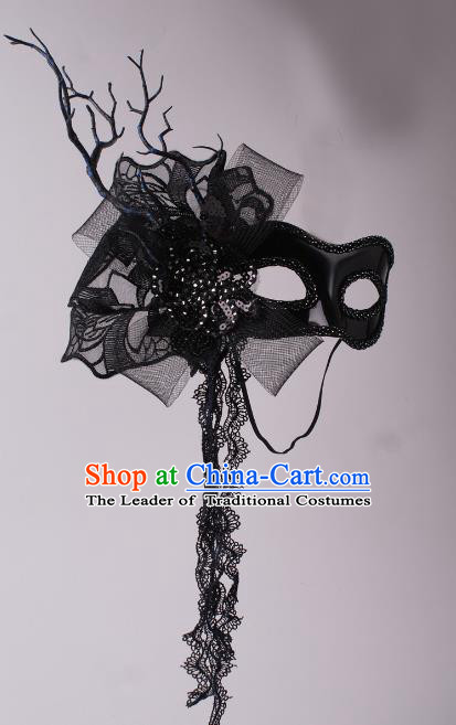 Halloween Fancy Ball Props Half Face Mask Stage Performance Accessories Black Tassel Masks