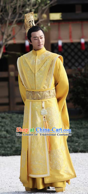 Chinese Teleplay Tribes and Empires:Storm of Prophecy Ancient Majesty Dragon Robe Emperor Embroidered Costumes for Men