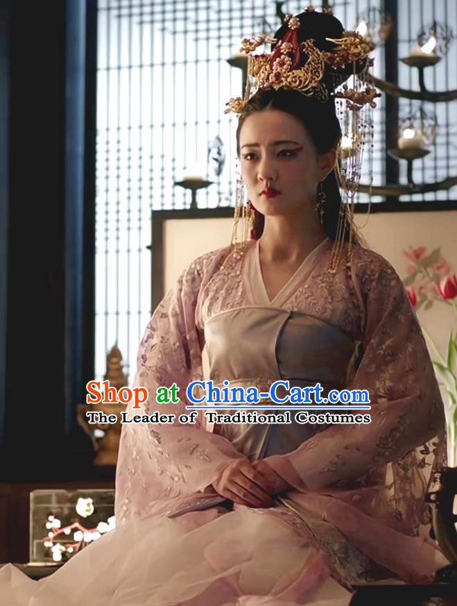 Chinese Teleplay Tribes and Empires:Storm of Prophecy Ancient Imperial Empress Embroidered Costumes and Headpiece for Women