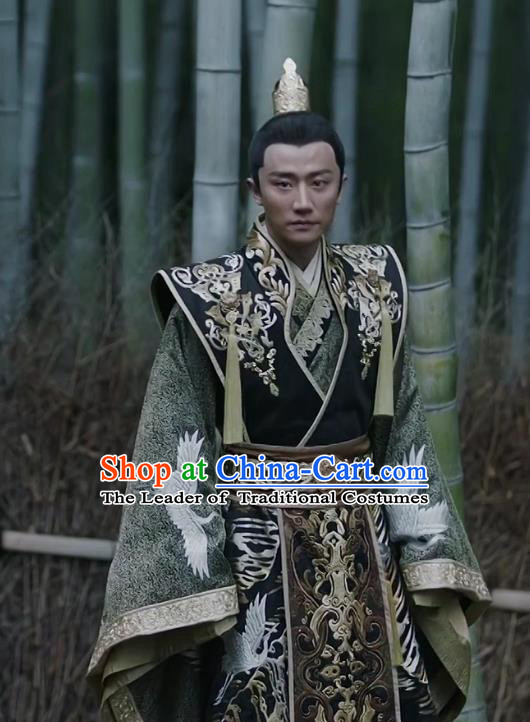 Teleplay Tribes and Empires:Storm of Prophecy Chinese Ancient Imperial Emperor Embroidered Costumes for Men