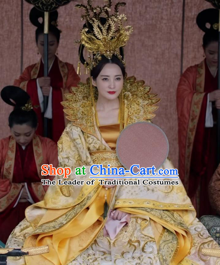 Teleplay Tribes and Empires:Storm of Prophecy Chinese Ancient Imperial Empress Embroidered Costumes and Headpiece Complete Set