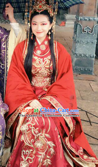 Teleplay Tribes and Empires:Storm of Prophecy Chinese Ancient Crown Princess Embroidered Wedding Costumes and Headpiece Complete Set