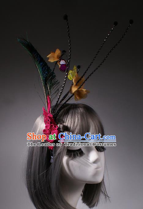 Top Grade Catwalks Hair Accessories Halloween Stage Performance Feather Hair Clasp Modern Fancywork Headwear