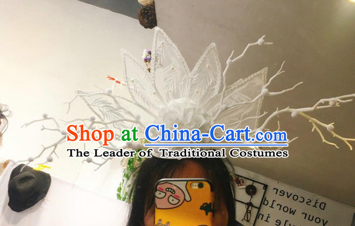 Top Grade Catwalks Hair Accessories Halloween Stage Performance White Flowers Lace Hair Clasp Modern Fancywork Headwear