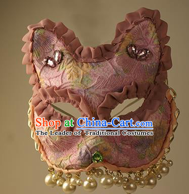 Halloween Exaggerated Pink Face Mask Fancy Ball Props Stage Performance Accessories Christmas Mysterious Masks