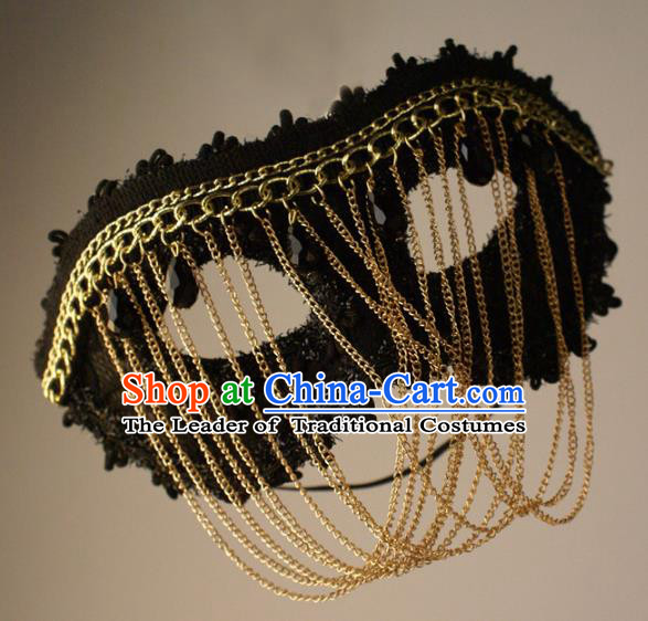 Halloween Exaggerated Chain Face Mask Fancy Ball Props Stage Performance Accessories Christmas Mysterious Masks