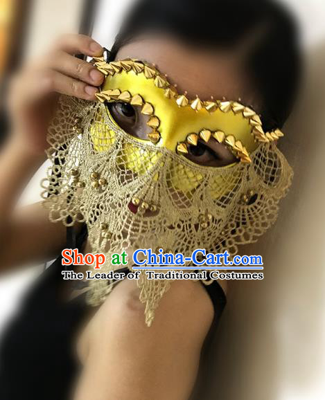 Halloween Catwalks Venice Face Mask Fancy Ball Lace Golden Masks Christmas Exaggerated Feather Masks