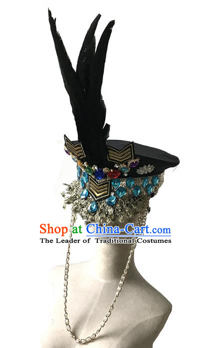 Top Grade Catwalks Gothic Hair Accessories Exaggerated Crystal Feather Police Cap Halloween Modern Fancywork Headwear