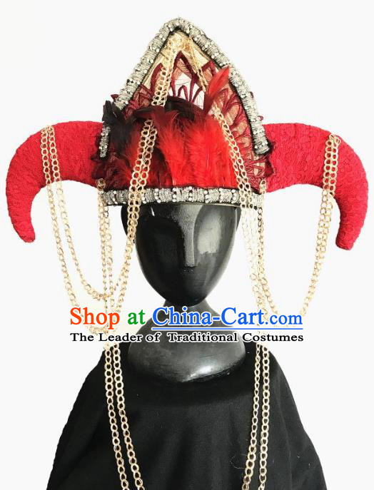Top Grade Catwalks Tassel Hair Accessories Exaggerated Ox Horn Red Hats Halloween Modern Fancywork Headwear