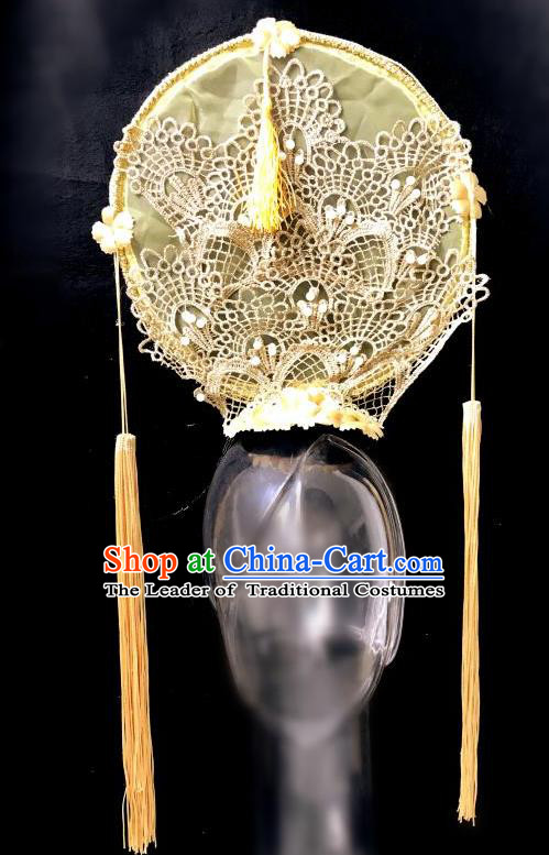 Top Grade Catwalks Golden Lace Hair Accessories Exaggerated Chinese Traditional Headdress Modern Fancywork Headwear