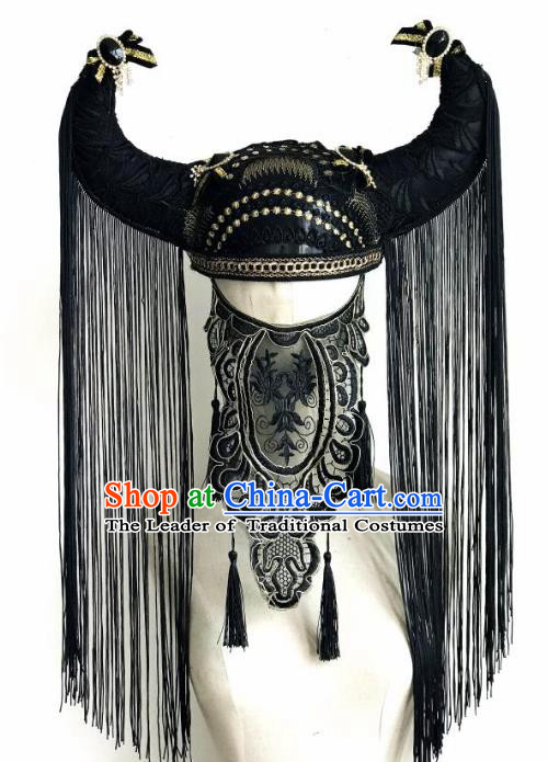 Top Grade Catwalks Hair Accessories Exaggerated Black Tassel Ox Horn Hats Modern Fancywork Headwear