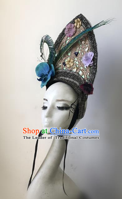 Top Grade Catwalks Hair Accessories Baroque Exaggerated Royal Crown Modern Fancywork Headwear